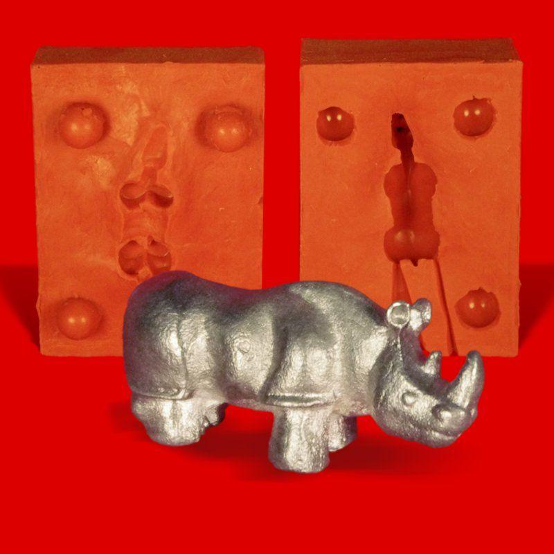 Zinngießform Nashorn, ca. 35g Reinzinn