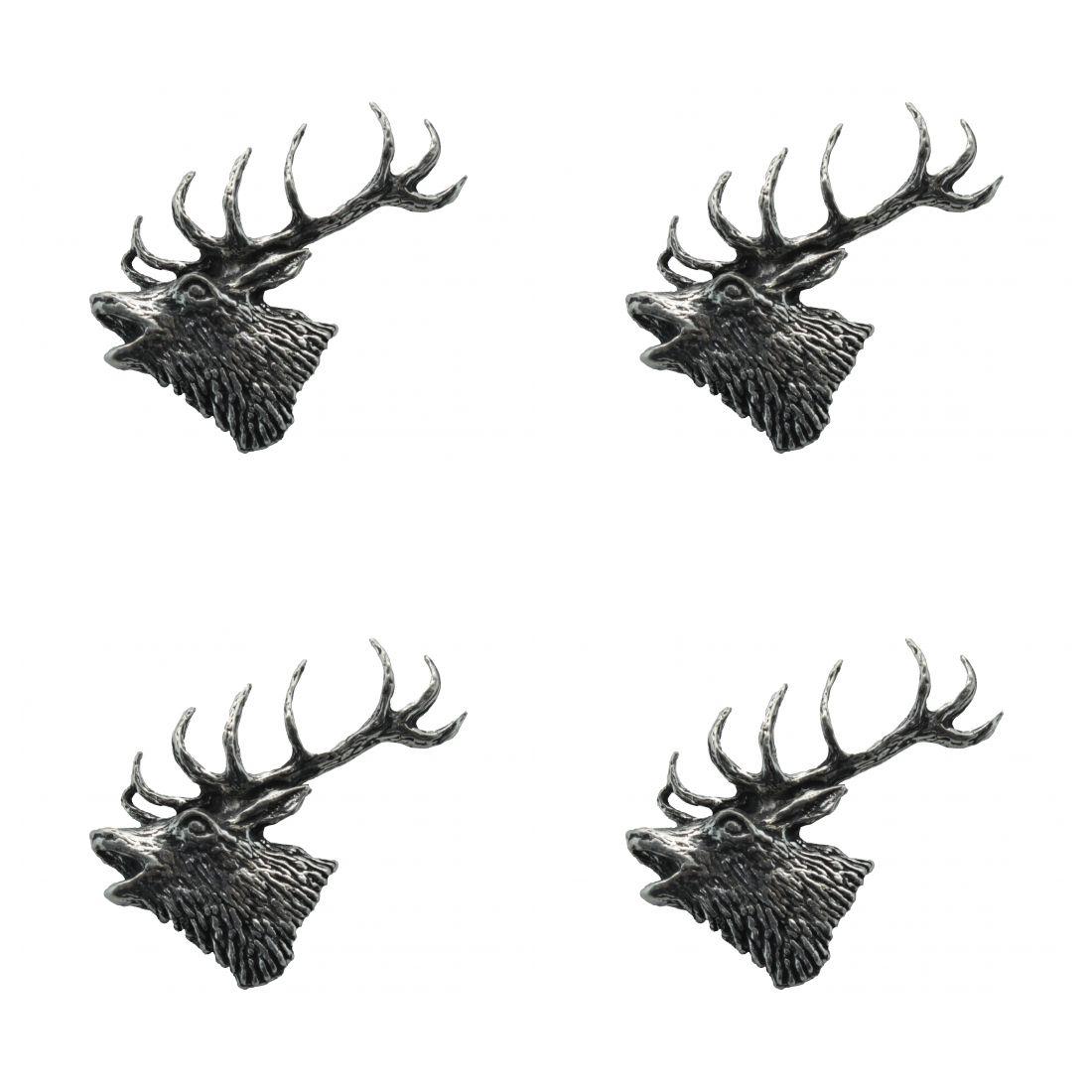 4x Pin Anstecker Badge Kopf Edelhirsch, 2,5x3,7cm