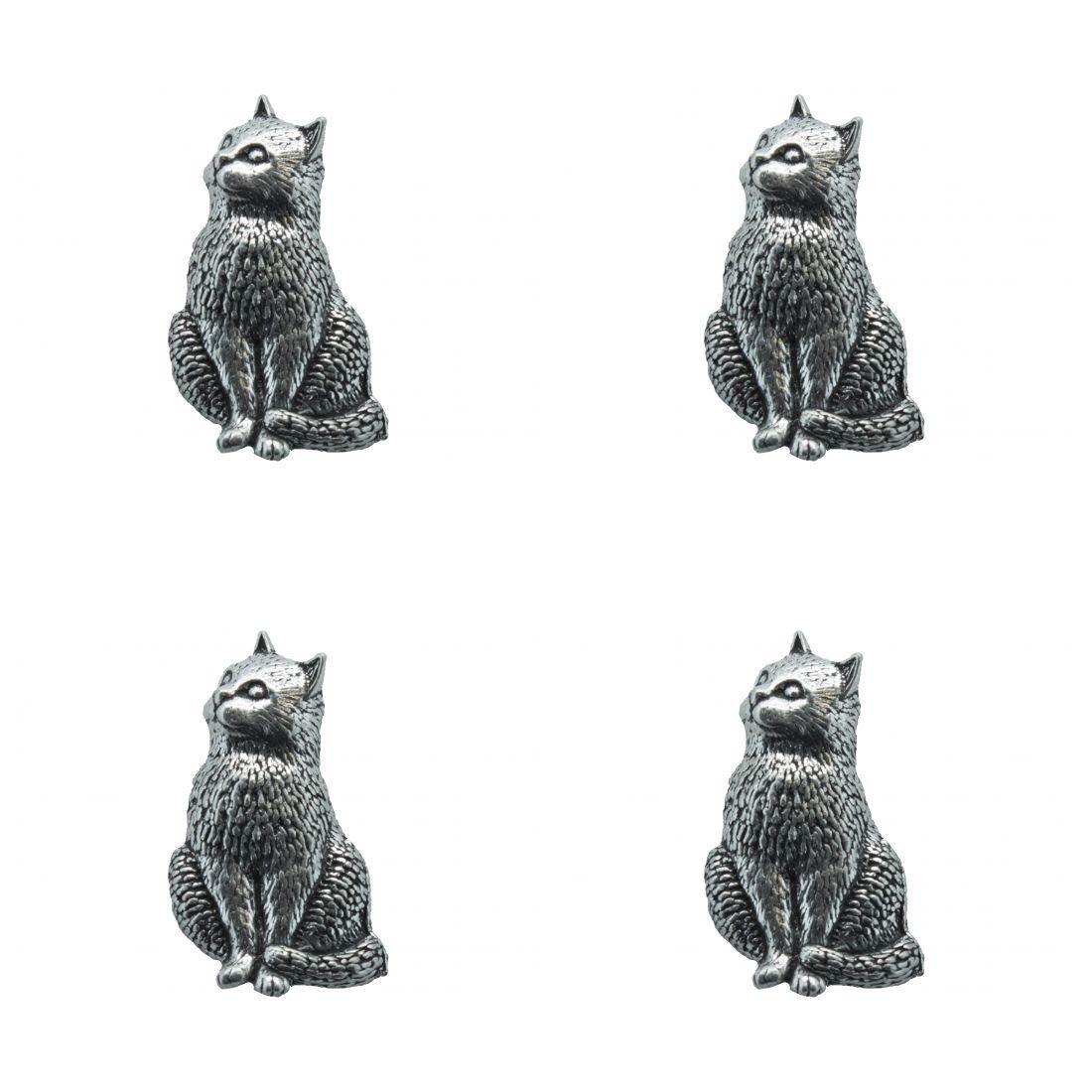 4x Pin Anstecker Badge Katze sitzend, 1,9x3,3cm