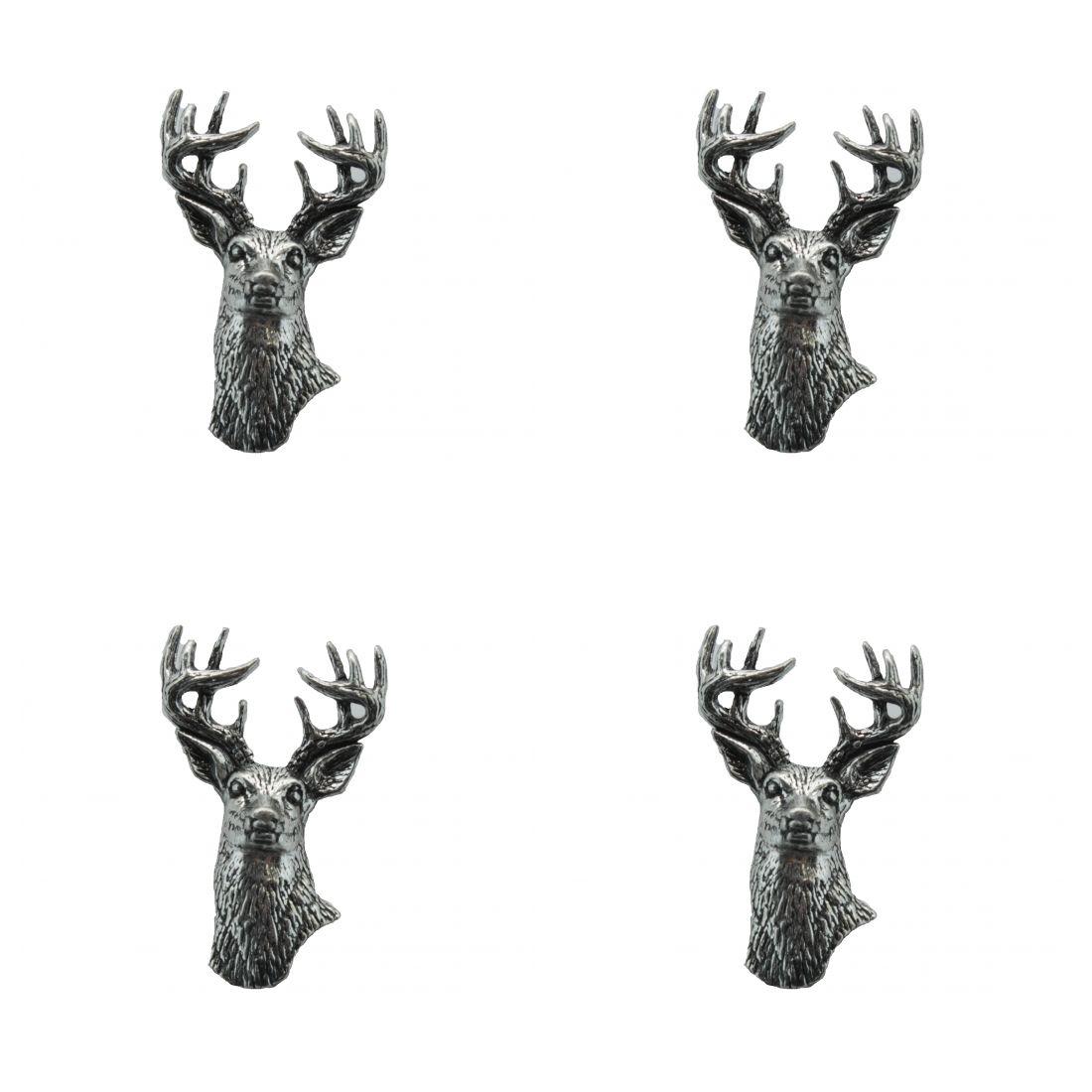 4x Pin Anstecker Badge Damhirsch, 2,1x3,4cm