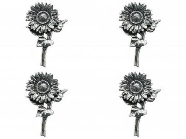 4x Pin Anstecker Badge Sonnenblume, 4,9x3,1cm
