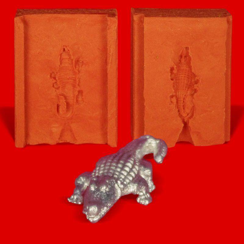 Zinngießform Kleines Krokodil, ca. 10g Reinzinn