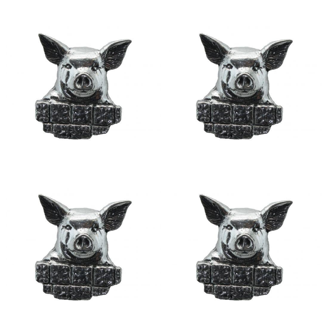 4x Pin Anstecker Badge Kopf Schwein, 2,9x3,1cm