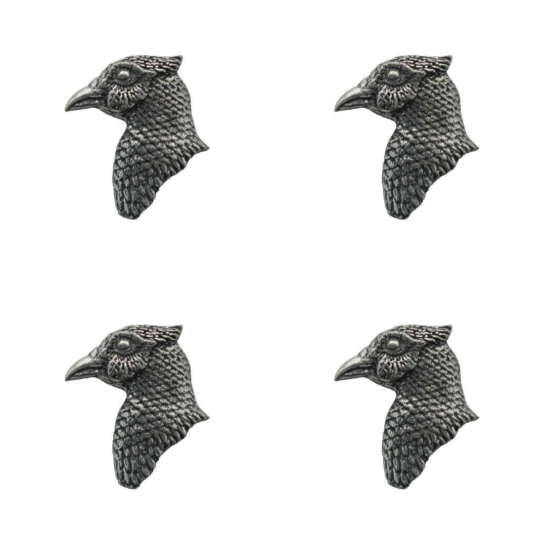 4 x Pin Anstecker Badge Kopf Fasan, 2,3x2,4cm