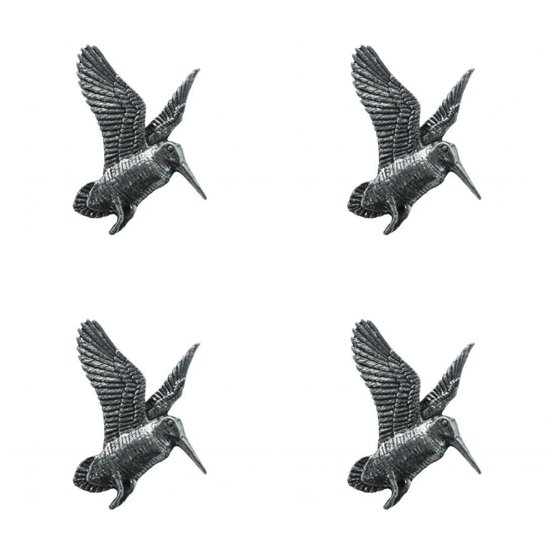 4 x Pin Anstecker Badge Schnepfe, 3,8x3,8cm