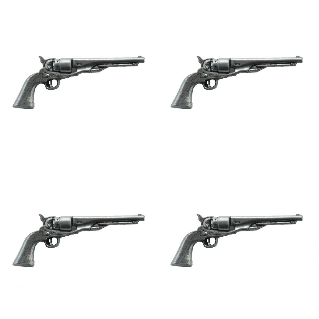 4 x Pin Anstecker Badge Revolver antik, 4,1x1,7cm
