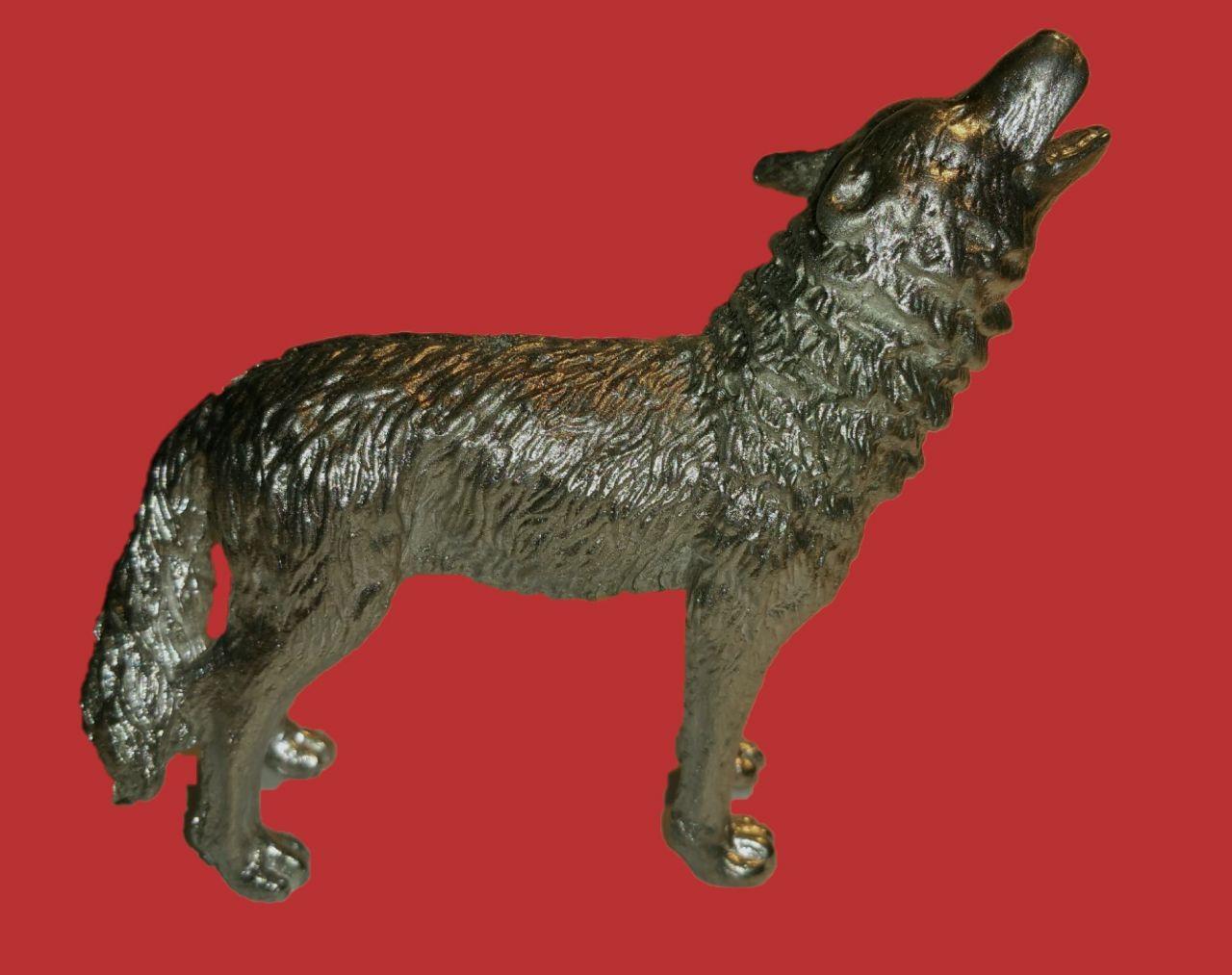 Zinngießform Heulender Wolf, ca. 280g Reinzinn