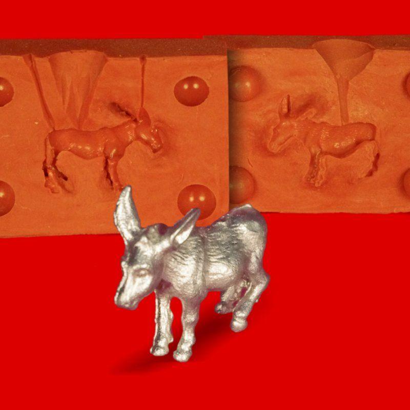 Zinngießform Kleiner Esel Muli Maultier, ca.15g Reinzinn