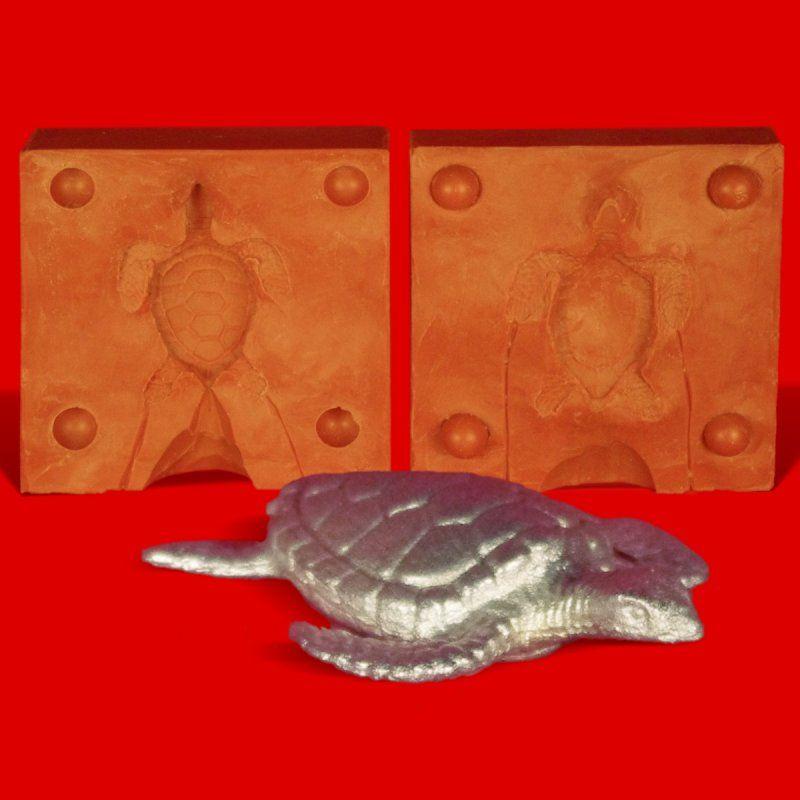 Zinngießform Wasserschildkröte, ca. 40g Reinzinn