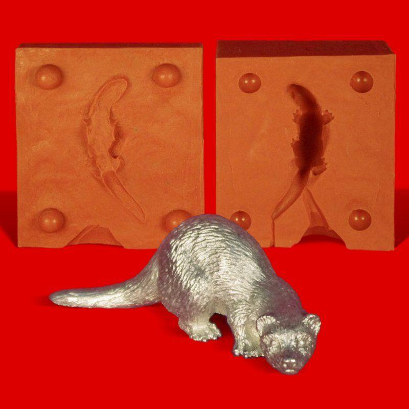 Zinngießform Otter, ca. 60g Reinzinn