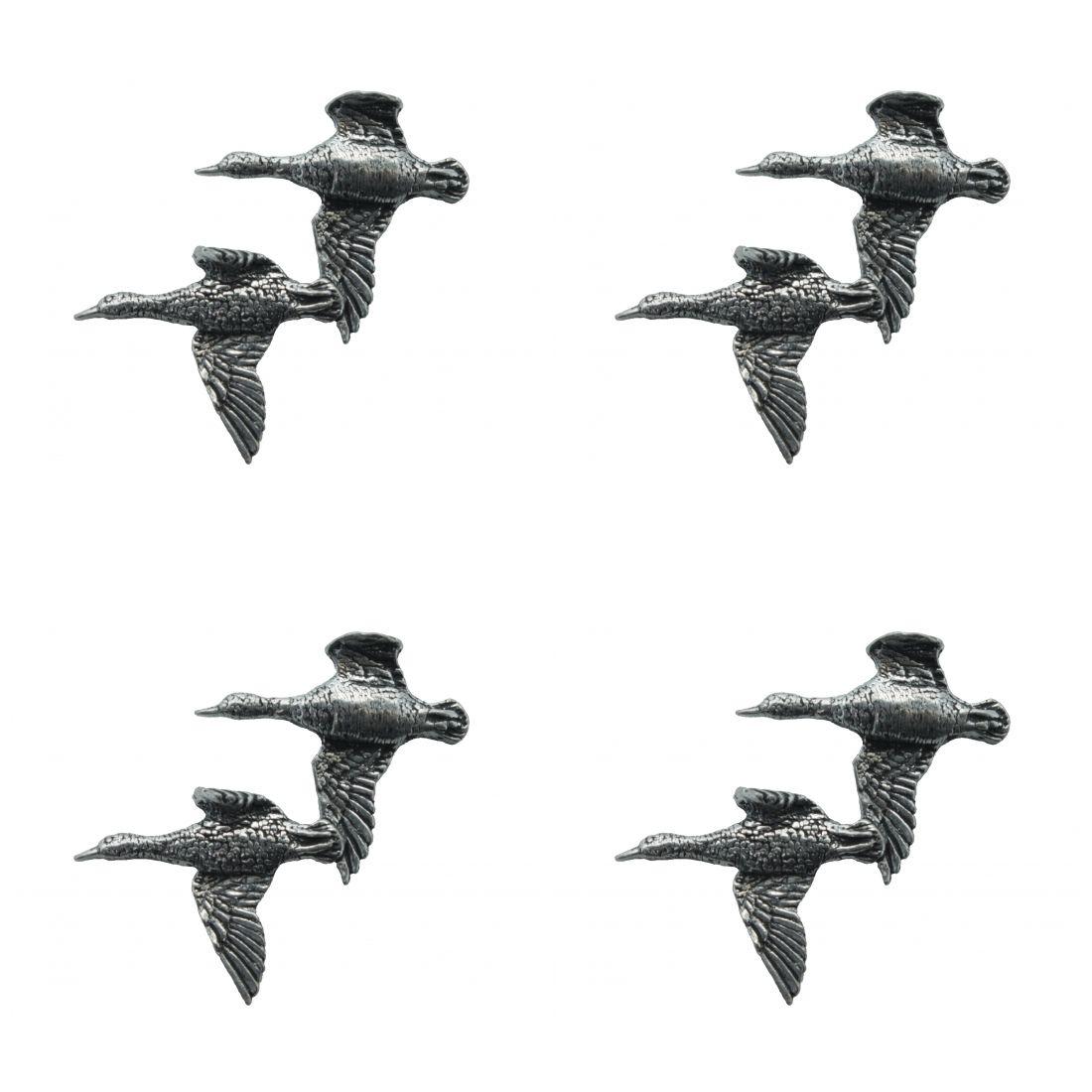 4 x Pin Anstecker Badge Entenpaar fliegend 3,9x3,7cm