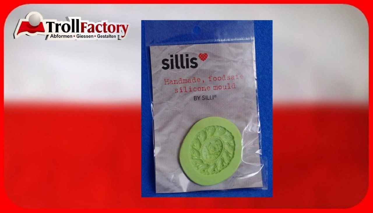 SILLI Silikonform Lebensmittel Kringel und Rosen, ca. 5x 4,4cm