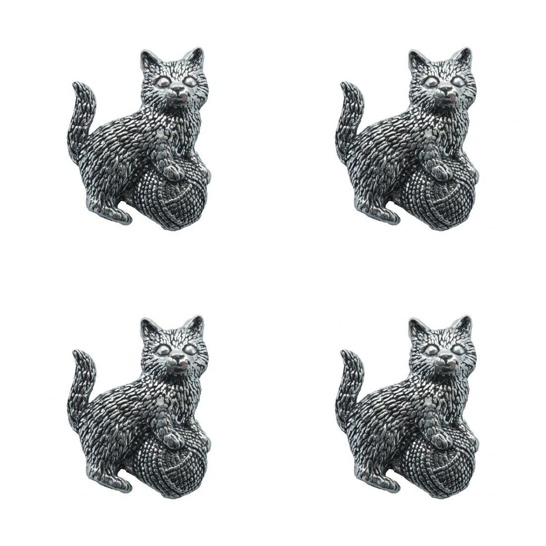 4x Pin Anstecker Badge Katze mit Wollknäuel, 2,9x3,4cm