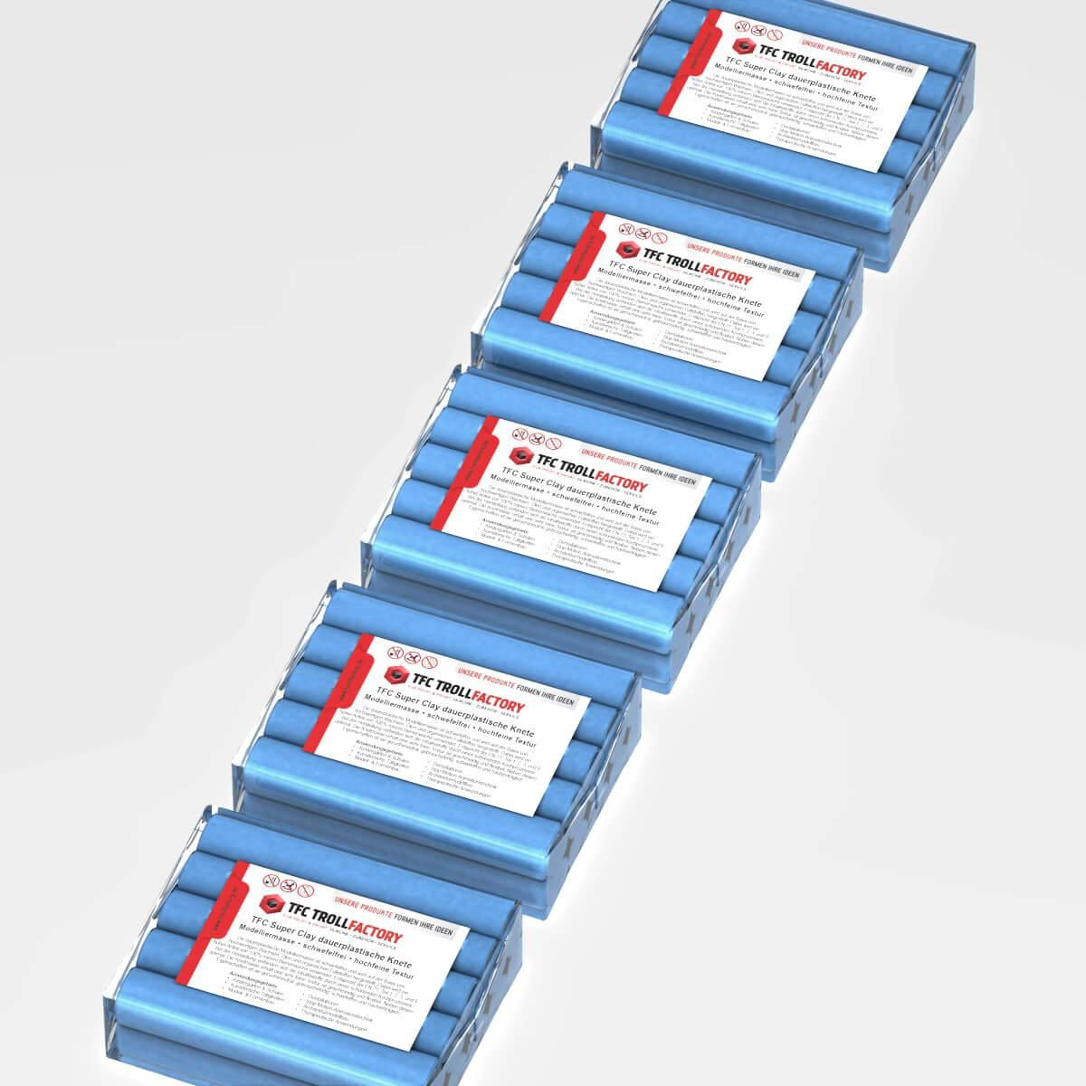 TFC SUPER CLAY Knete hellblau Modelliermasse hochfeine Textur geschmeidig formstabil dauerplastisch