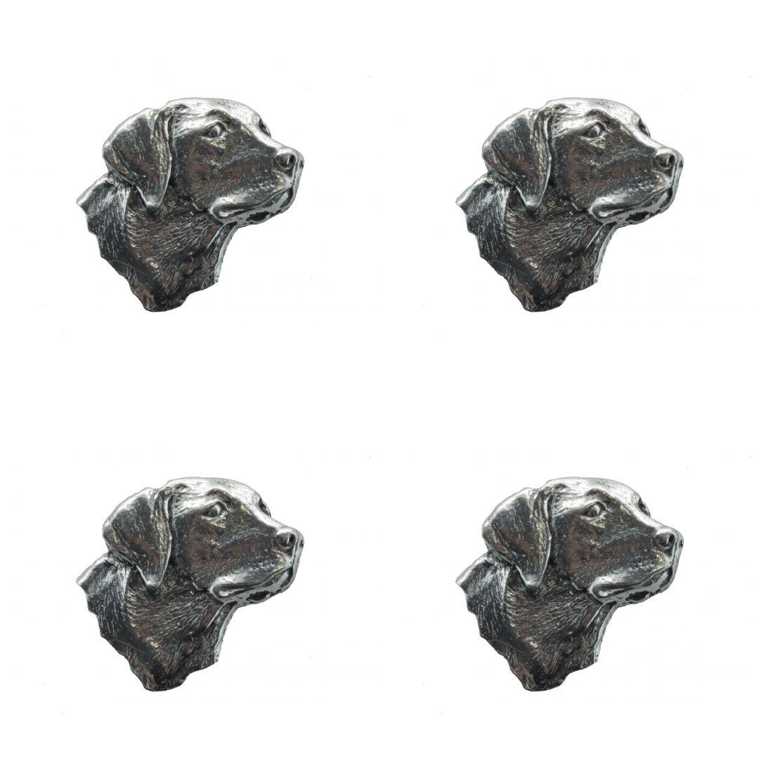 4x Pin Anstecker Badge Kopf Labrador, 2,8x2,3cm