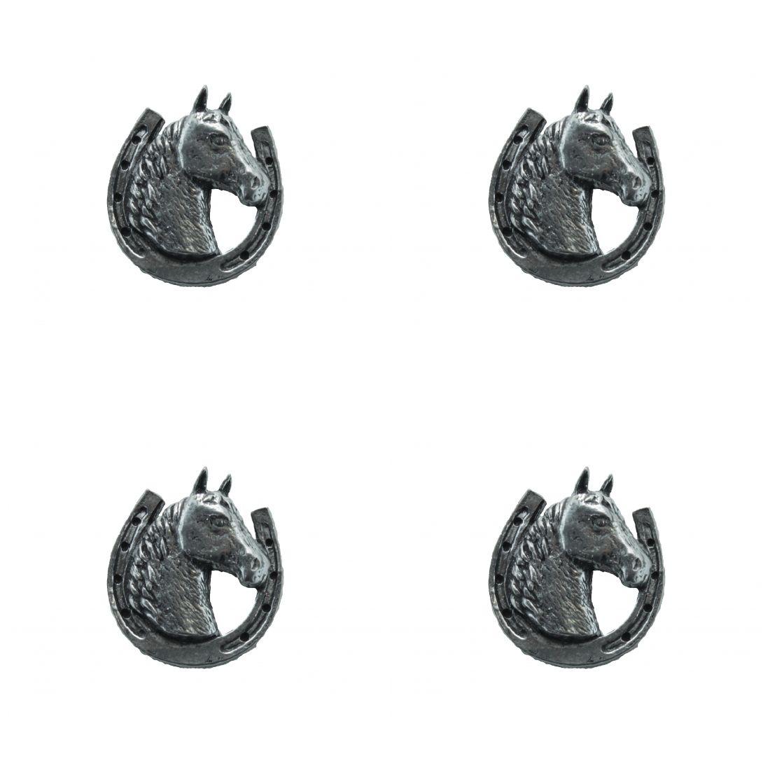 4x Pin Anstecker Badge Hufeisen mit Pferdekopf, 2,2x2,4cm