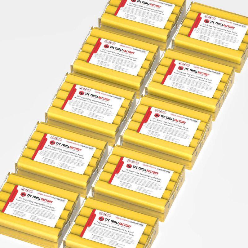 TFC SUPER CLAY Knete gelb Modelliermasse hochfeine Textur geschmeidig formstabil dauerplastisch