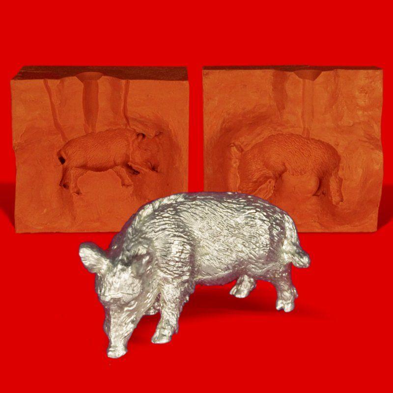 Zinngießform Wildschwein Bache, ca. 200g Reinzinn
