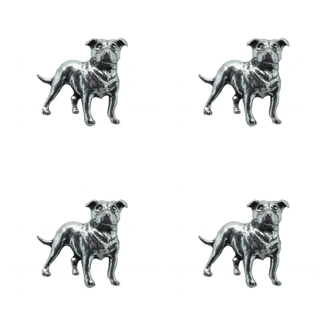 4 x Pin Anstecker Badge Staffordshire Bull Terrier, 2,9x2,6cm