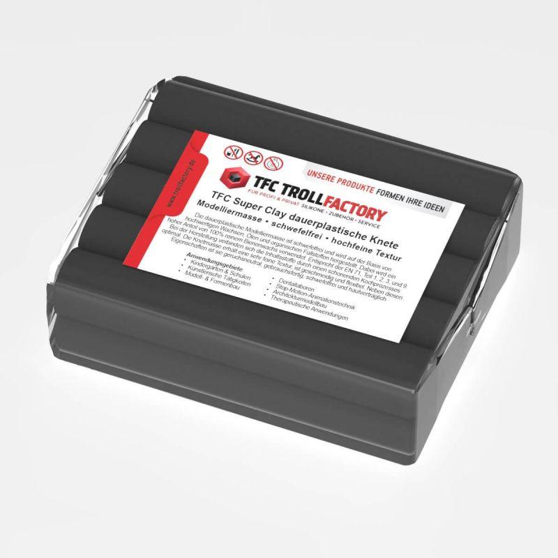 TFC SUPER CLAY Knete schwarz Modelliermasse hochfeine Textur geschmeidig formstabil dauerplastisch