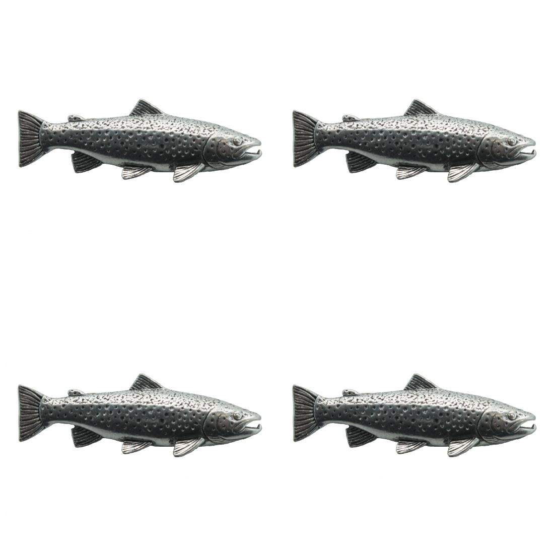 4 x Pin Anstecker Badge brauner Salm, 4,1x1,5cm