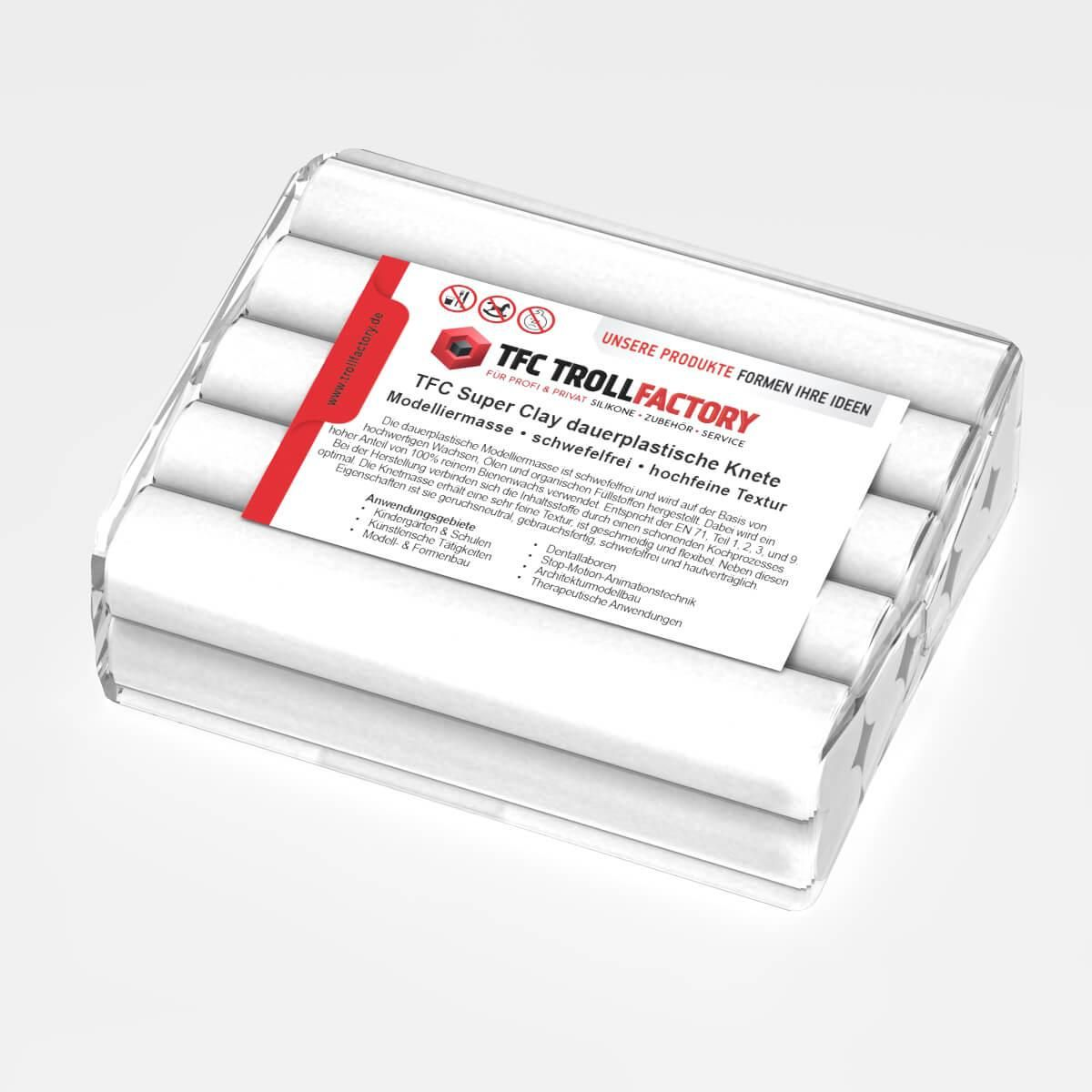 TFC SUPER CLAY Knete weiss Modelliermasse hochfeine Textur geschmeidig formstabil dauerplastisch