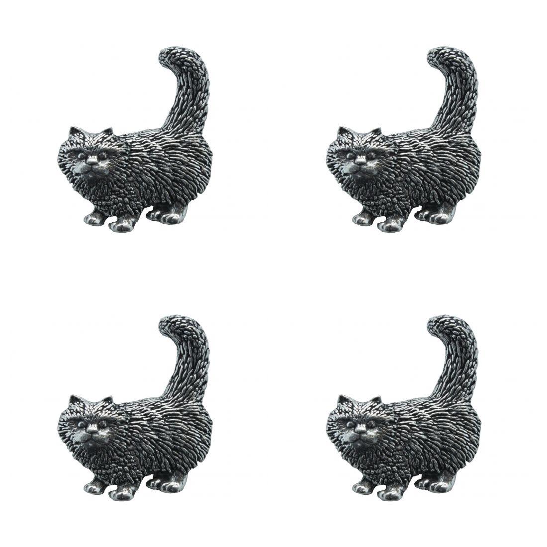4x Pin Anstecker Badge Katze stehend, 3,1x3,6cm
