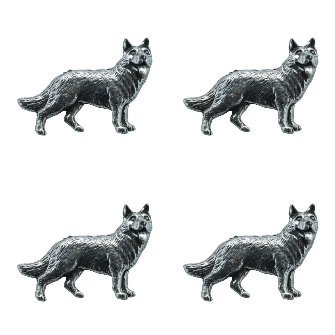 4 x Pin Anstecker Badge Deutscher Schäferhund, 3,8x2,7cm