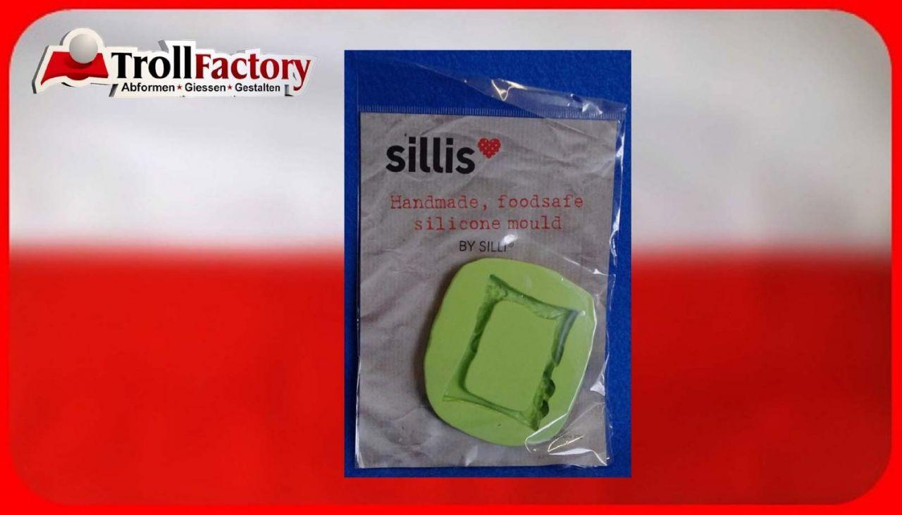 SILLI Silikonform Lebensmittel Bilderrahmen mit Rosen, ca. 5x 4,2cm