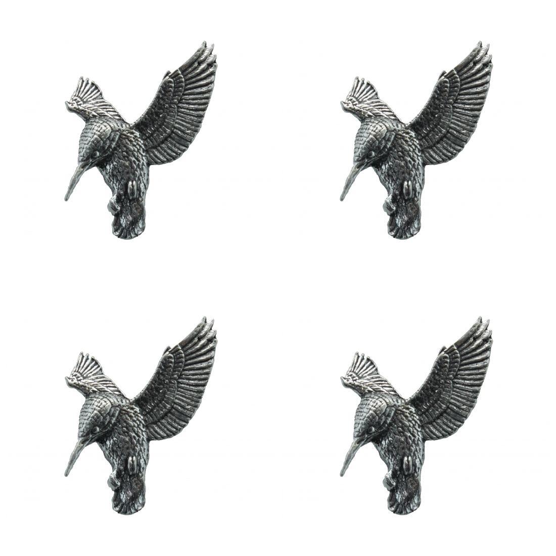 4 x Pin Anstecker Badge Eisvogel schwebend, 2,9x3,7cm