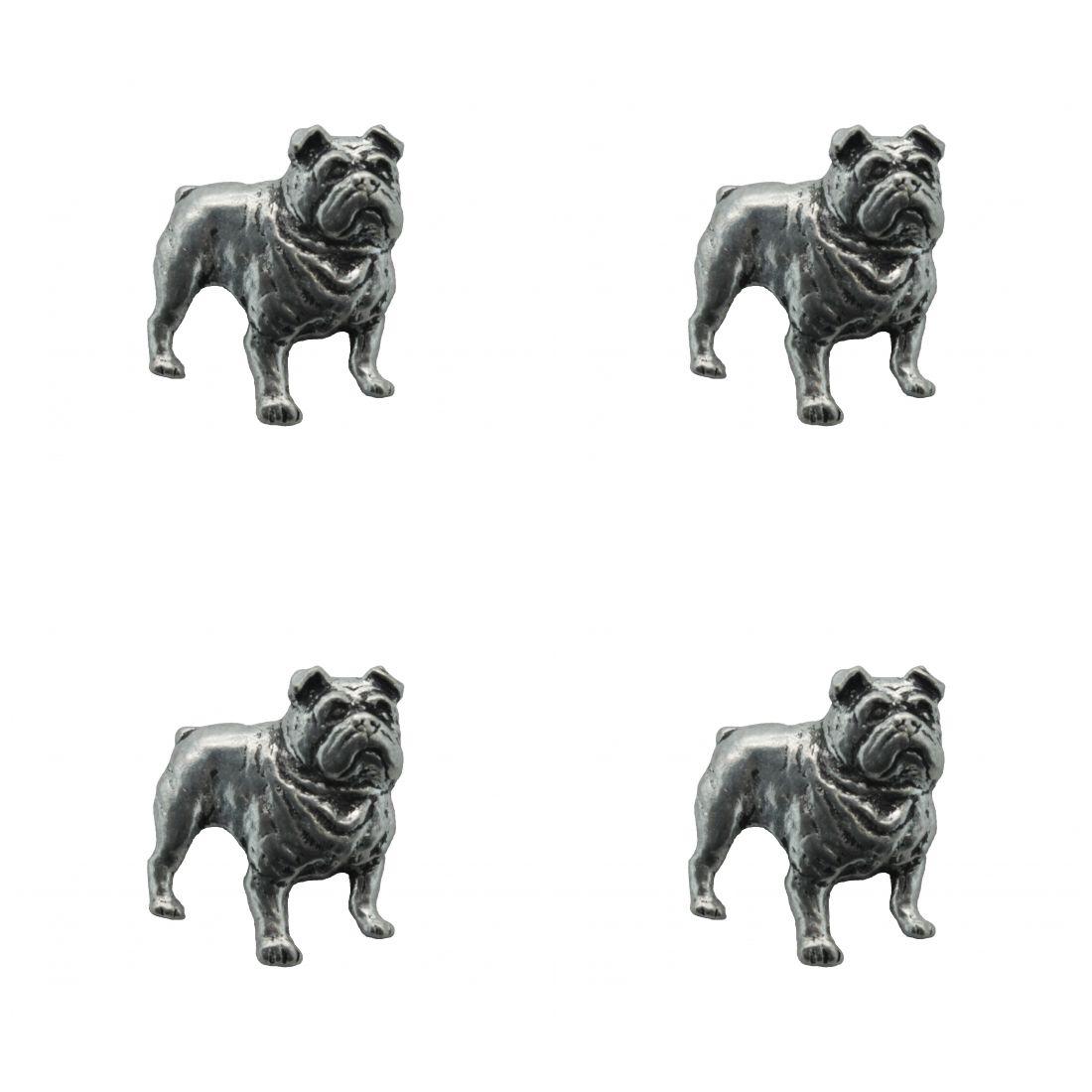 4 x Pin Anstecker Badge Bulldogge, 2,3x2,4cm