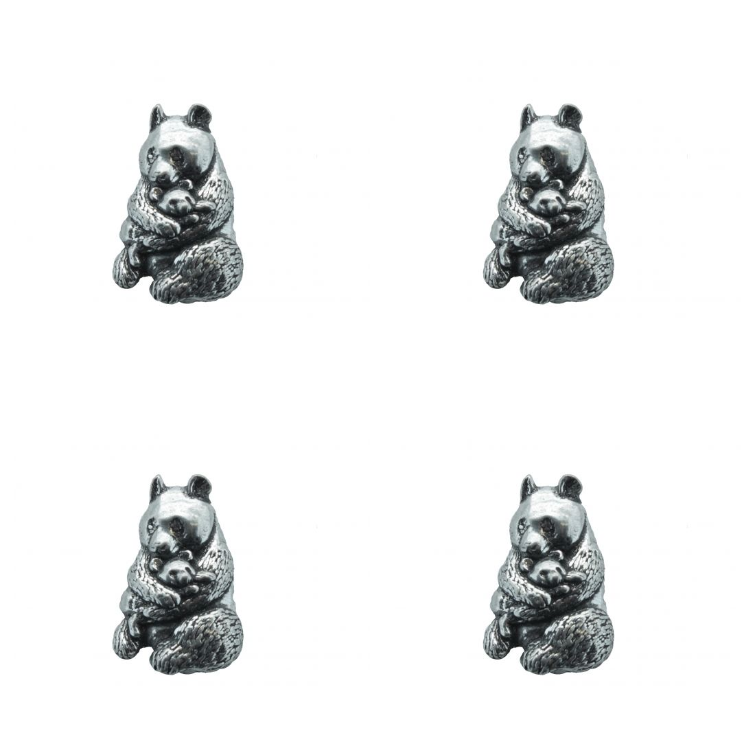 4x Pin Anstecker Badge Panda Bär, 1,7x1,6cm
