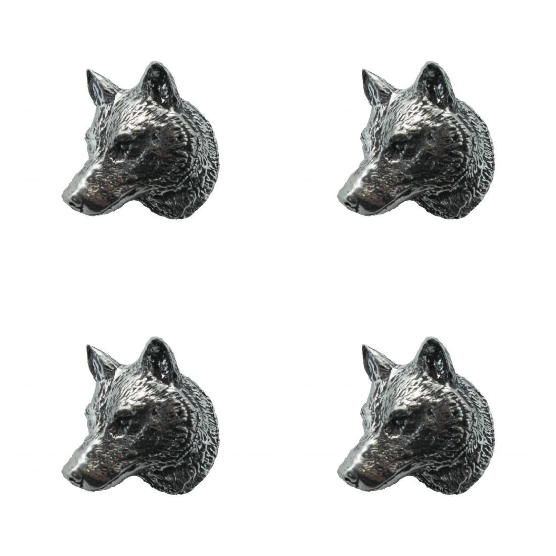 4x Pin Anstecker Badge Wolfskopf, 3,8x3,2cm