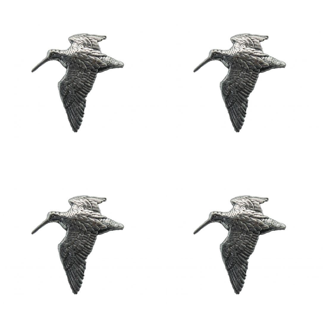 4 x Pin Anstecker Badge Schnepfe fliegt, 2,7x3cm