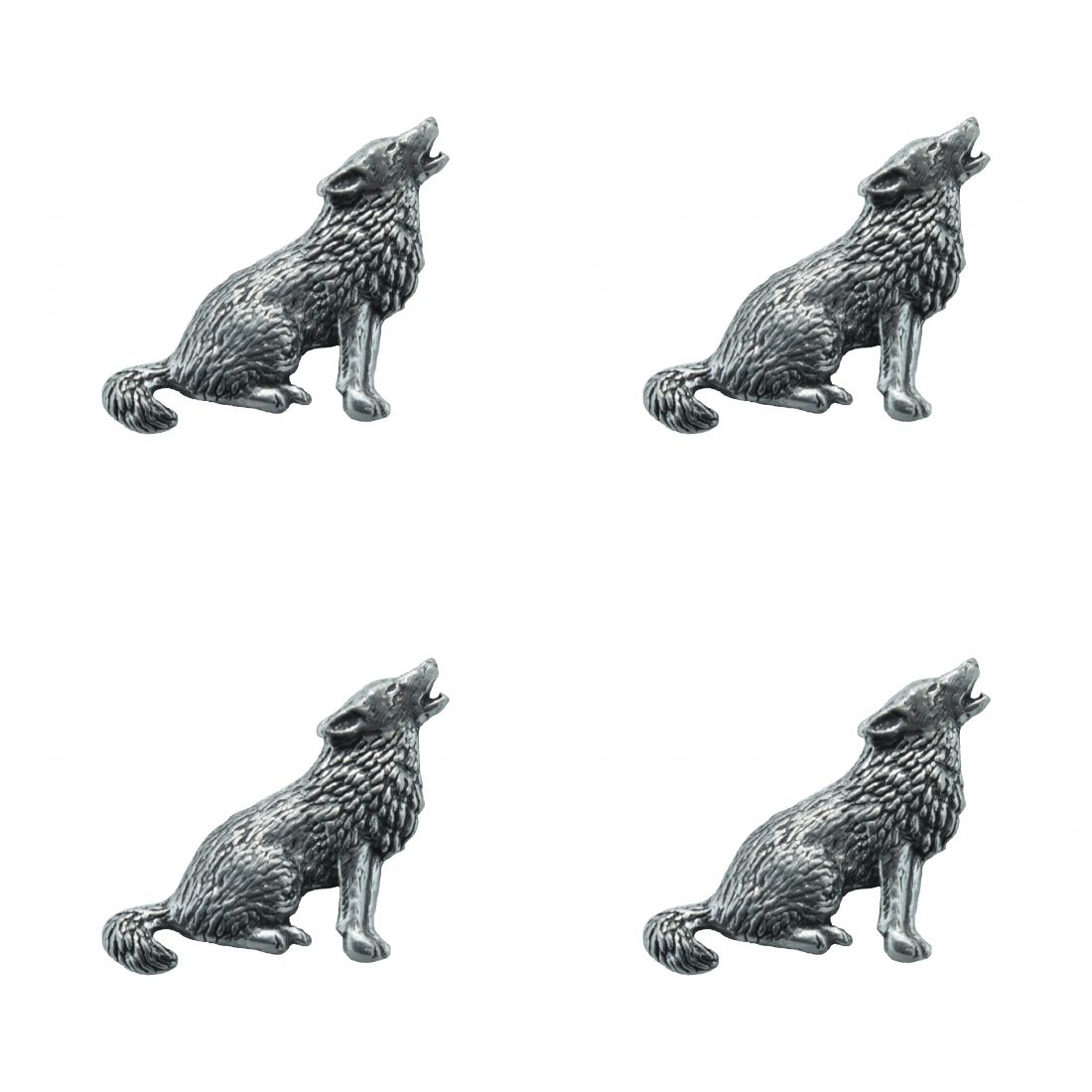 4 x Pin Anstecker Badge Wolf, 3,2x2,8cm