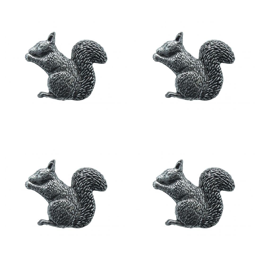 4x Pin Anstecker Badge Eichhörnchen sitzend, 2,8x2,9cm
