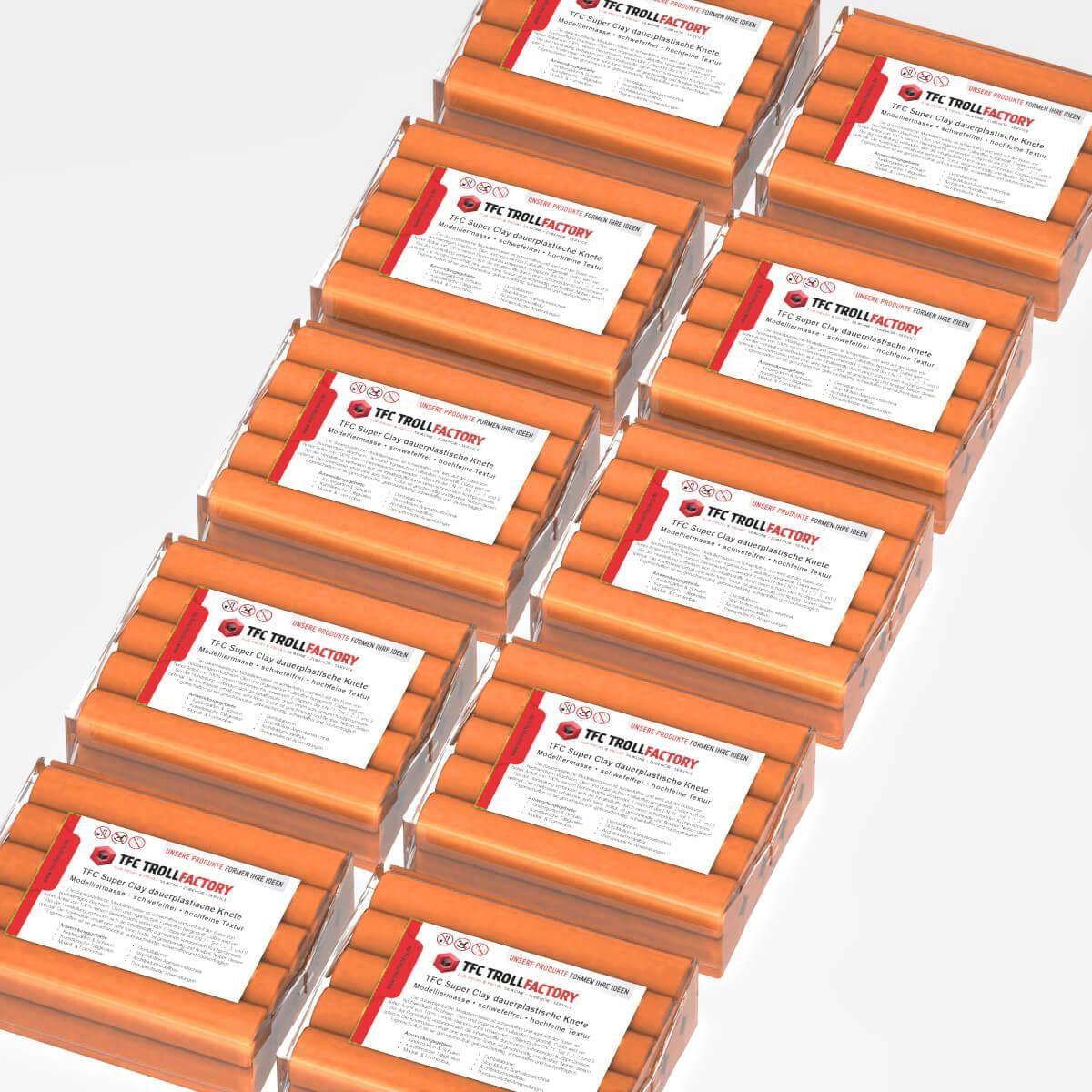 TFC SUPER CLAY Knete orange Modelliermasse hochfeine Textur geschmeidig formstabil dauerplastisch