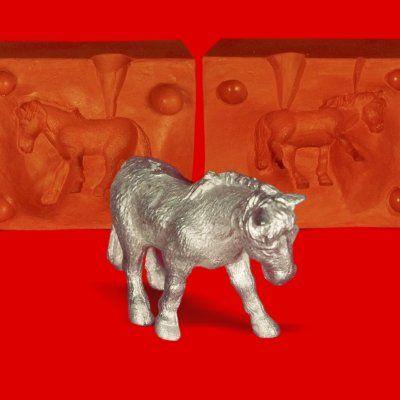 Zinngießform Pferd 1, ca. 100g Reinzinn
