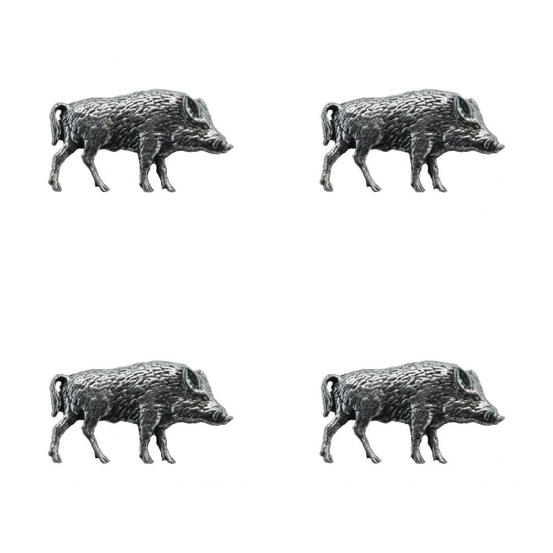 4x Pin Anstecker Badge Wildschwein, 1,9x3,4cm