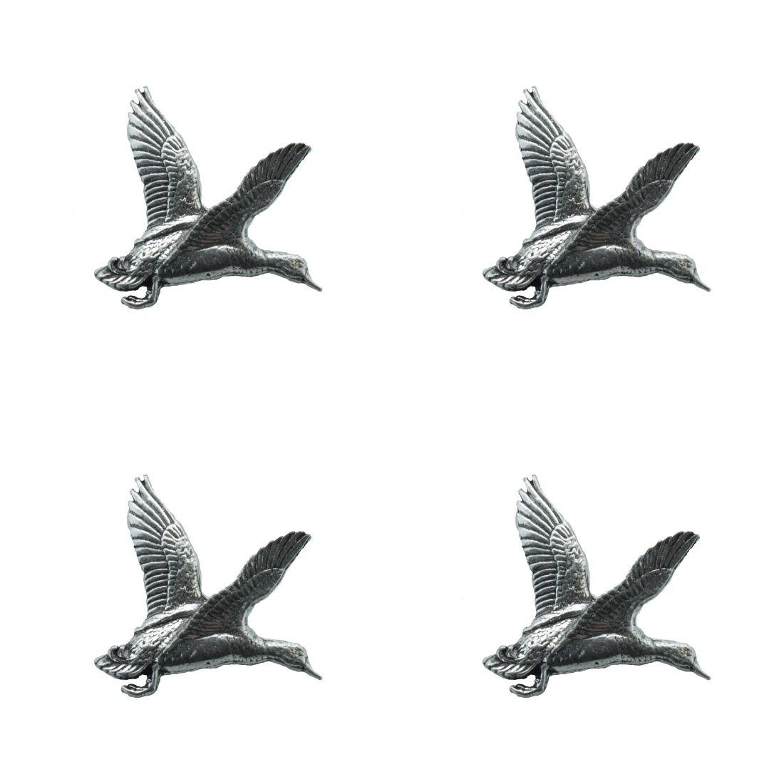 4 x Pin Anstecker Badge Ente aufsteigend, 2,9x3cm