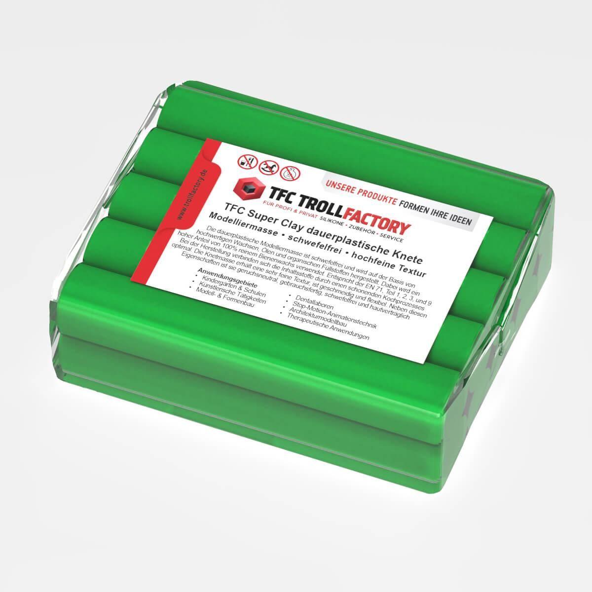TFC SUPER CLAY Knete grün Modelliermasse hochfeine Textur geschmeidig formstabil dauerplastisch