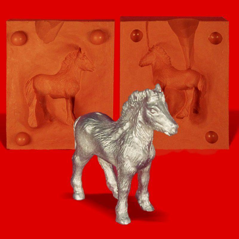 Zinngießform Pony Fohlen, 135g Reinzinn